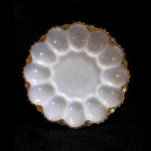 Anchor Hocking FIRE KING Milk Glass Gold Trim Egg Plate - Gramma-zon