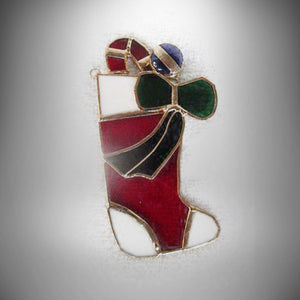 "Tiffany Stained Glass Heirloom Ornament ""STOCKING"" Tiffany Collectors Society - Gramma-zon"