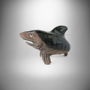 Handcarved & Painted Miniature Black Shark Art Artisana LEPS Collection Peru 80s
