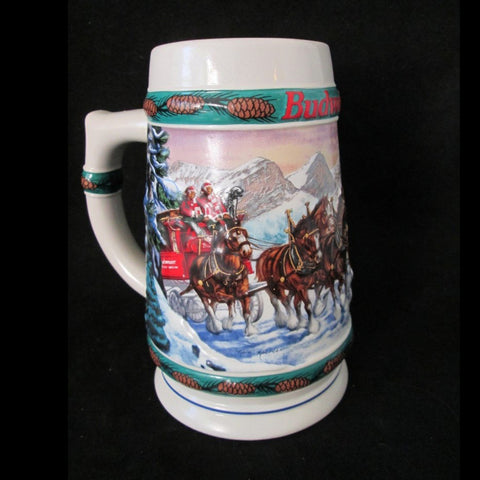 "BUDWEISER STEIN ""SPECIAL DELIVERY"" 1993 Artist Nora Koerber With Certificate - Gramma-zon"