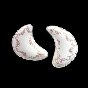 Austria Bone Dishes (2) 20th Century Habsburg White, Pink Rose Floral - Gold Tri