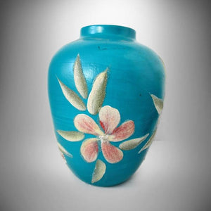 California Pottery Vi Mayfield Studio Applied Flowers Teal Blue Vase '78 - Gramma-zon