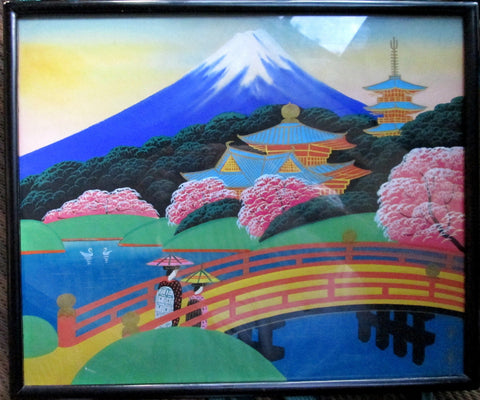Japanese Signed Hirayasu Fujiyama Foothills Temple Silkscreen Silk Screen Print