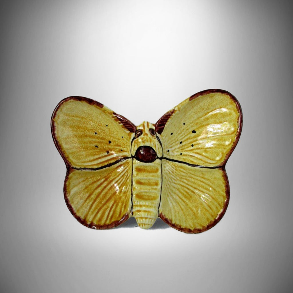 Italy Mid century Ceramic Yellow & Brown Butterfly Ashtray Vintage ...