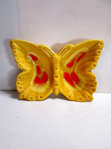 Vintage California Art Pottery Butterfly Drip Glaze Ashtray Signed - Gramma-zon