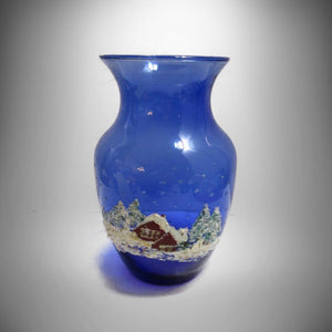 Hand Painted Folk Art Vase, Cobalt Blue w 3D Winter Scene Signed