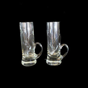 A set (2) Clear Etched Wheat Glass Handled Cordial Liqueur Aperitif Shot Glasses