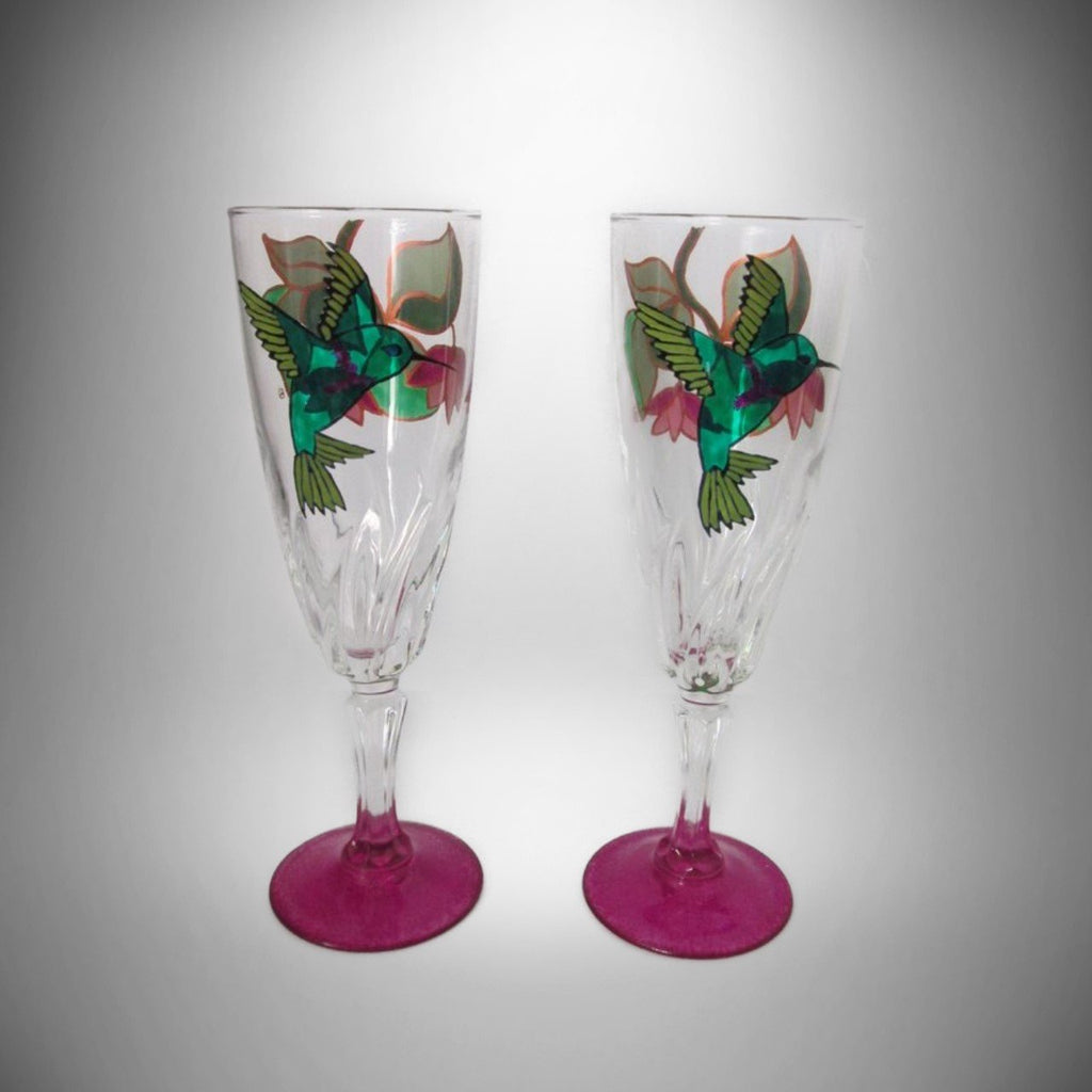 Hummingbird Flamenco Art Glass Set of 2 Hand Painted Champagne Flutes Signed - Gramma-zon