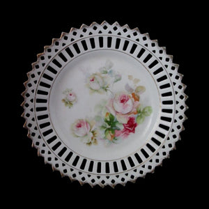 "Bavaria Schumann Dresser Dish 8.5"" Pink Roses Reticulated w Gold Laced Rim"