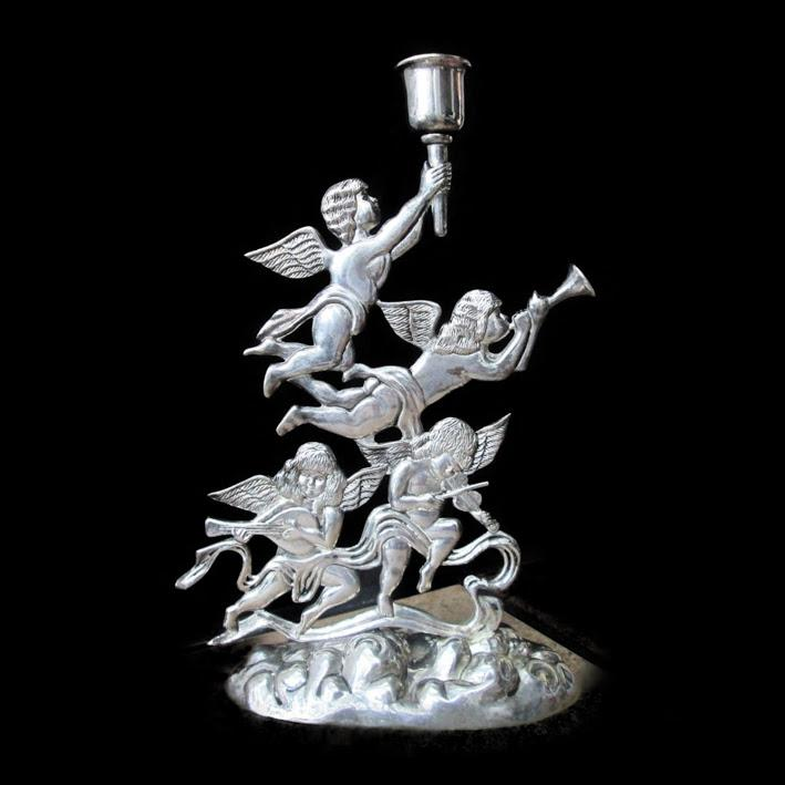 Godinger Silver Plate Angels Cherub Candle Holder CHRISTMAS Musicians