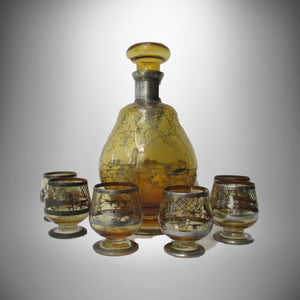 Italian Antique Amber Blown Glass Decanter 6 glasses Silver Overlay Venetian