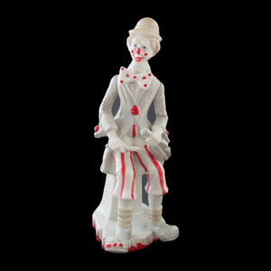 Clown Figurine Grey Porcelain With Red Trim Violin Sitting On Stool -Lladro Styl - Gramma-zon
