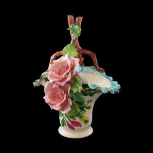 Italy Rose Porcelain basket Raised Roses & Leaves Mid Century Hand Painted - Gramma-zon