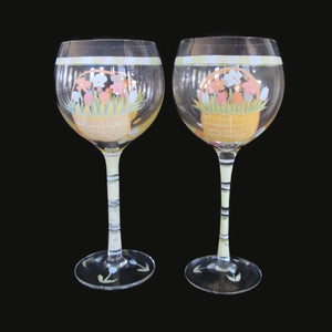 Wine Glasses Hand Painted Easter Spring Basket Studio Art Glass Set of 2 ~13 oz