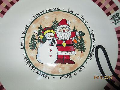 Cookie Plate w Mugs/Cups SANTA & SNOWMAN Christmas Holiday Collection
