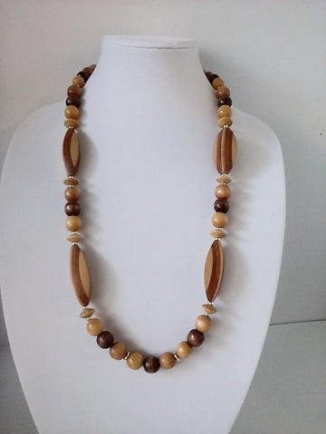 "31"" Tribal Carved Layered Wood Wooden Necklace. Vintage Gypsy Bobo Style"