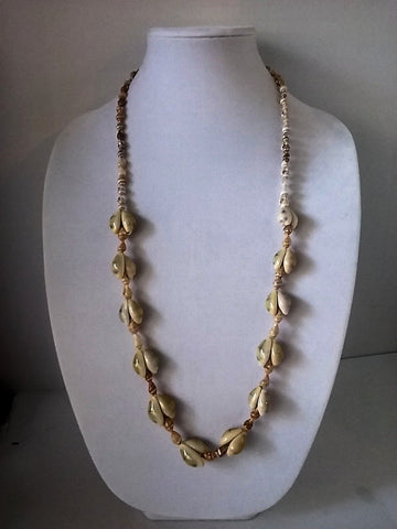 "35"" Conch Sea Shells Beaded Natural Beach Statement Necklace"