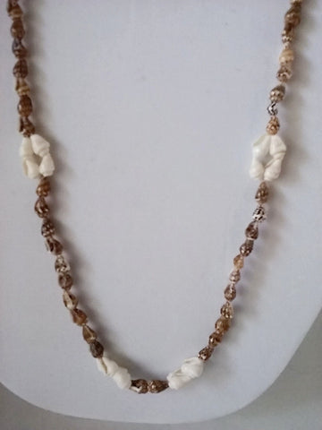 "31"" Conch Sea Shells Beaded Natural Beach Statement Necklace"