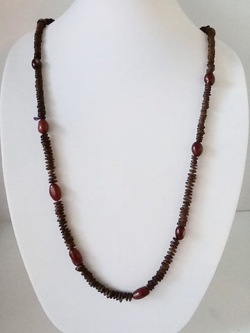 "39"" HAWAIIAN KOA Seed Necklace with Jobs Tears Vintage 1980s Hand Made"
