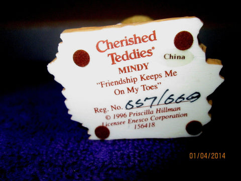 Cherished Teddies, Mindy – Friendship Keeps Me on My Toes 1996 Retired - Gramma-zon