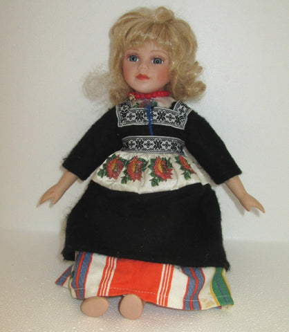 "VINTAGE 11"" Porcelain Doll in Dutch Regional Dress 1980's"