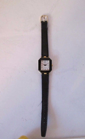 GENEVA Wrist Watch Vintage Womens Black Fashion w Leather Strap