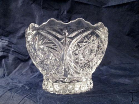Czech Bohemian Cut Crystal Buzz Saw / Hob Star Bowl Serving Bowl Scalloped Rim