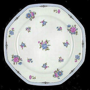 *Lot of 2 VIVA Christopher Stuart Dinnerplates Rimmed White / Lavender Edge