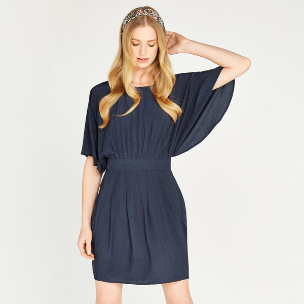 Apricot- Navy Batwing Waistband Dress
