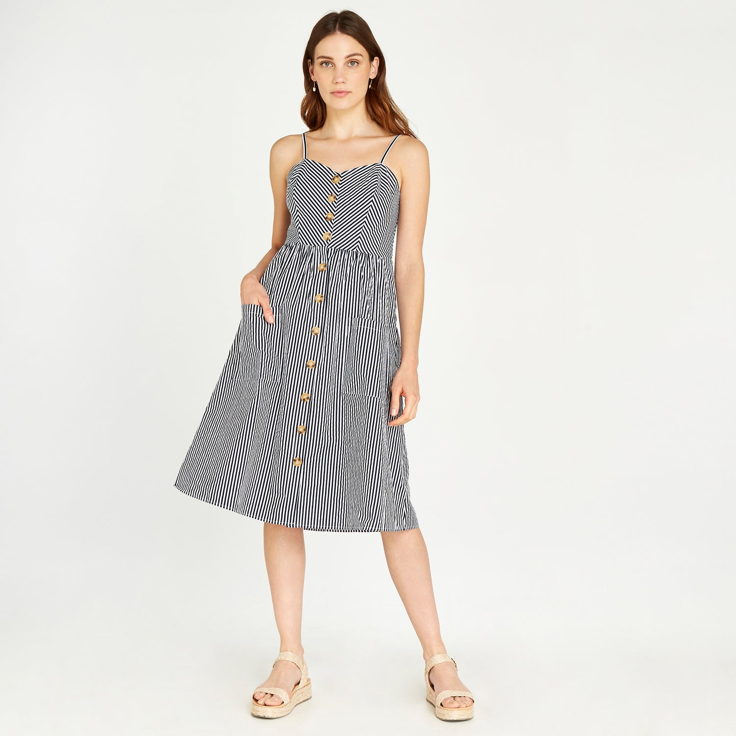 Apricot-NAVY STRIPE BUTTON FRONT POPLIN DRESS
