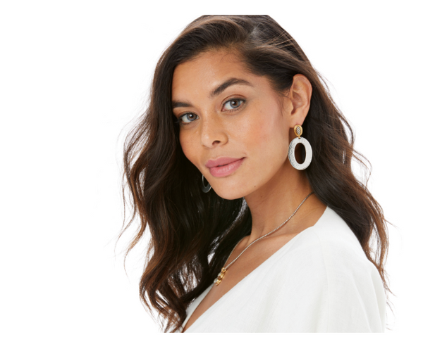 Brighton- Ferrara Artisan Two Tone Drop Earrings