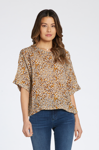Dear John Denim- Moana Crew Neck Top in  Caramel Leopard