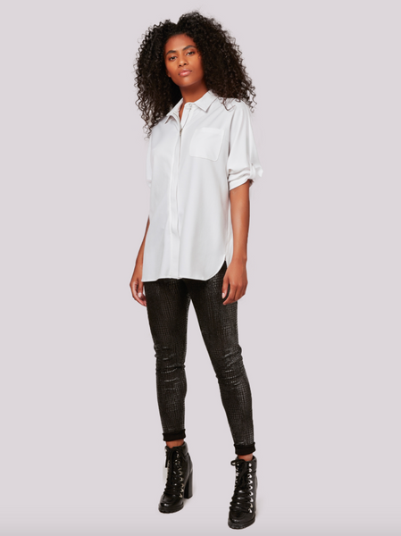 Apricot- Cream Zip Front Shirt