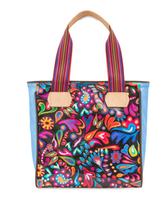 Consuela- Sophie Black Swirly Classic Tote with Blue Detail