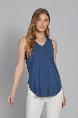 Another Love- Esther Sleeveless Pocket Tee in French Navy