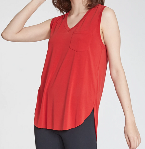 Another Love- Esther Sleeveless Pocket Tee in Cherry