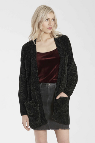 Another Love- Relaxed Open Long Sleeve Chenille Cardigan with Pockets in Black