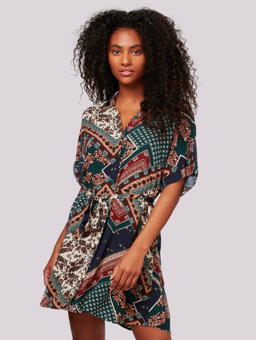 Apricot- Scarf Print Tunic Shirt Dress in Green