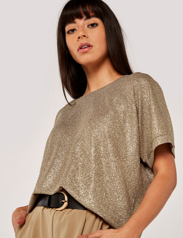 Apricot- Gold Foil Texture Oversized Top