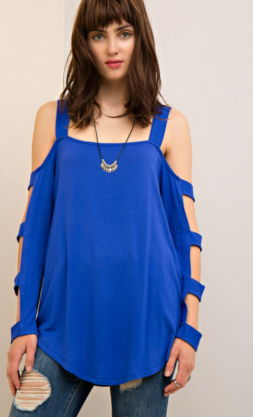 Entro- Open Shoulder Top Featuring Arm Cut Outs in Royal Blue