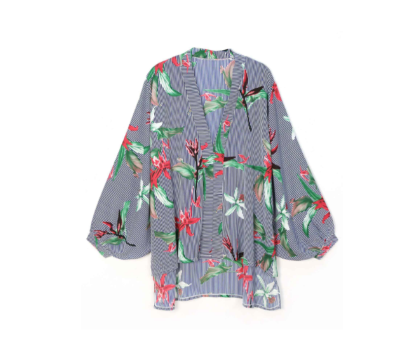 Fashion Lion- Striped Floral Dolman Sleeve Kimono