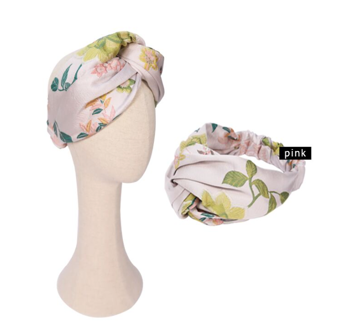 Fashion Lion- Large Twist Front Floral Jacquard Headwrap in Pink