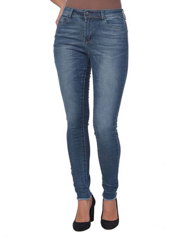 Lola Jeans- Alexa Dan High Rise Skinny Leg in Distressed Antique Blue