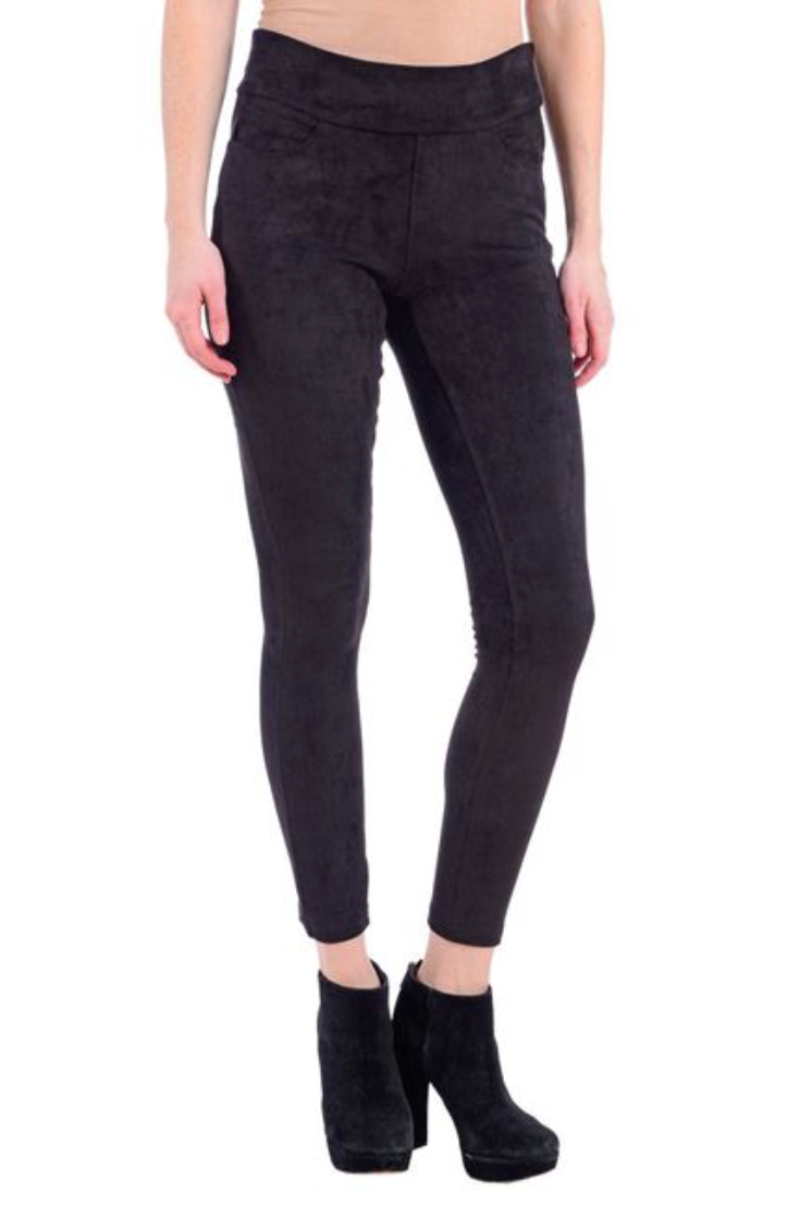 Lola Jeans- Janice Pull-On Vegan Suede Legging in Black