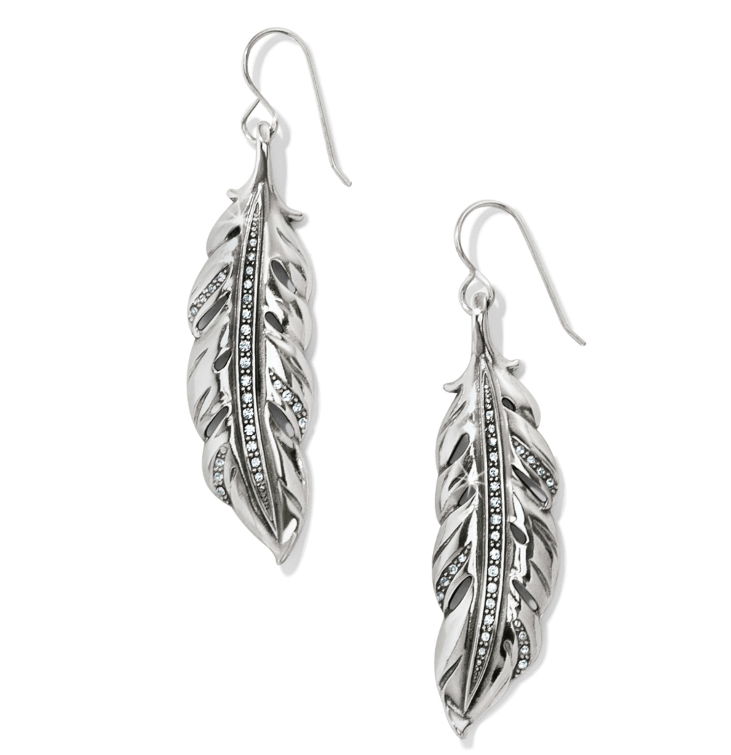 Brighton- Contempo Ice Feather French Wire Earrings in Silver