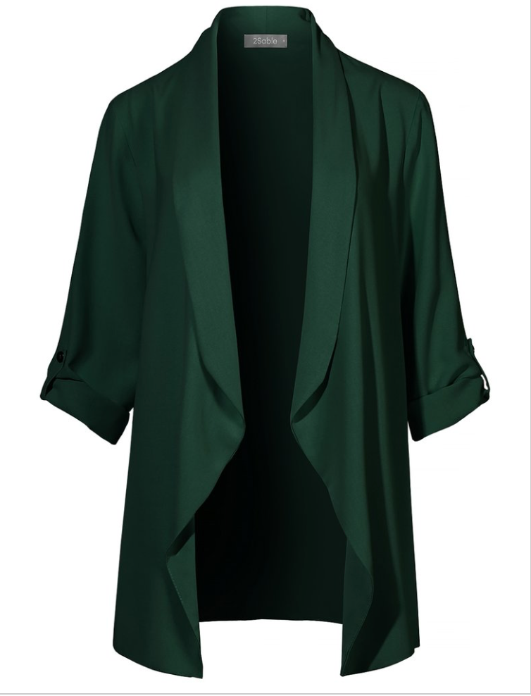 2 Sable- Loose Draped Boyfriend Blazer in Hunter Green