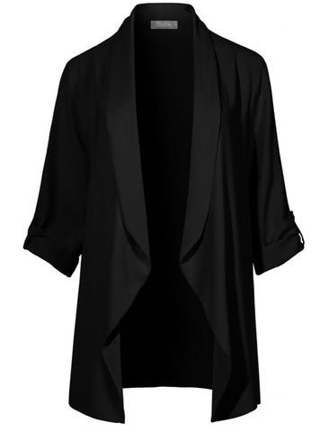2 Sable- Loose Draped Boyfriend Blazer in Black