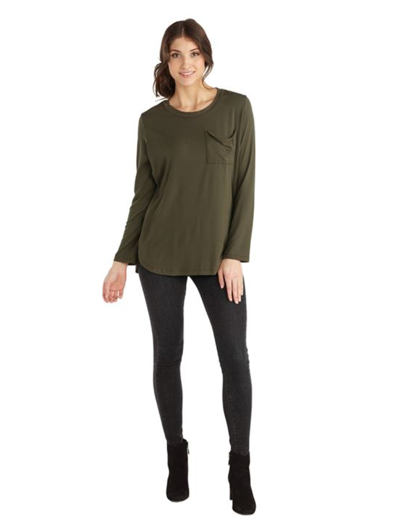 Mud Pie- Noah Jersey Top in Olive