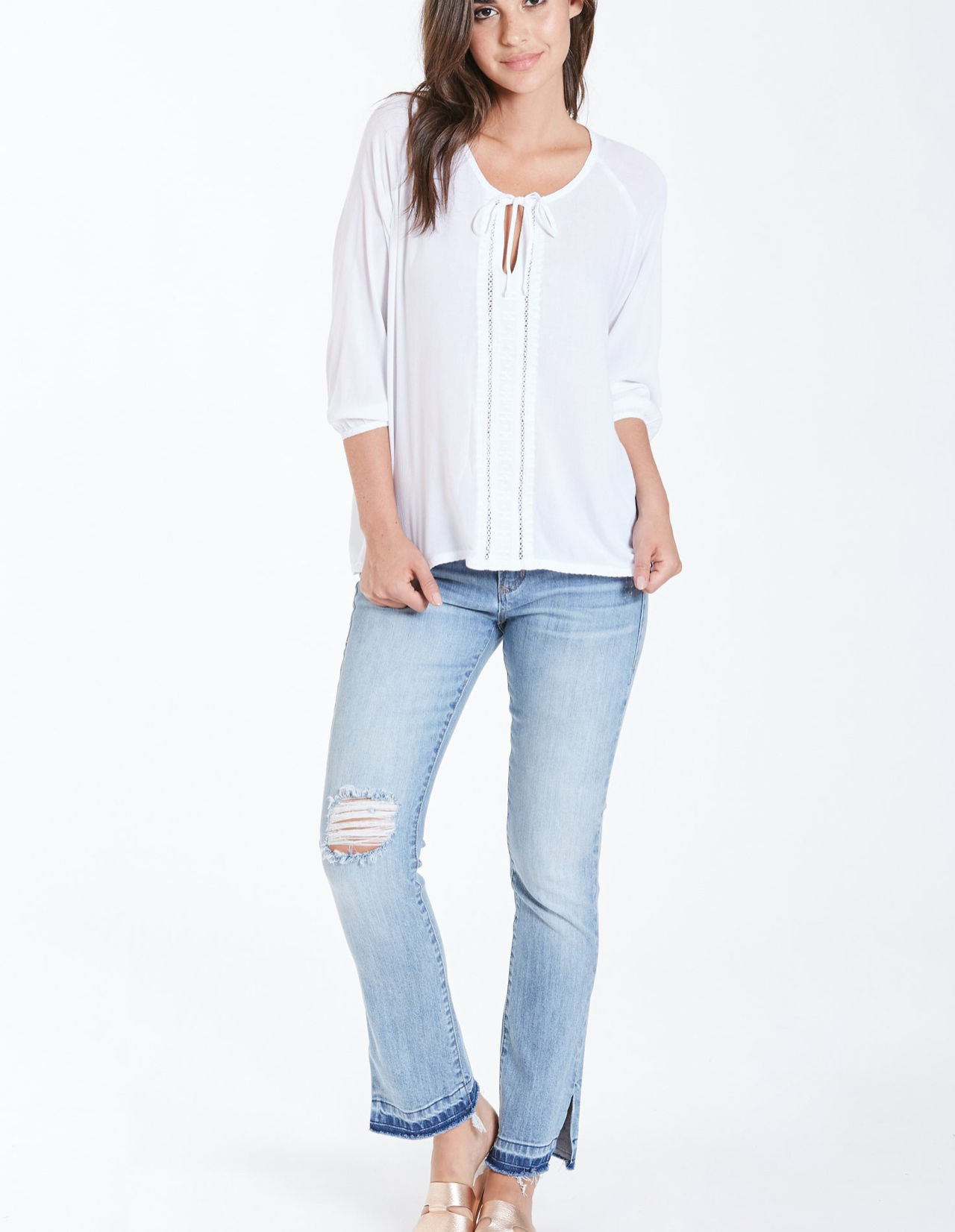 Dear John- Elena Blouson Sleeve Embroidered Top in White