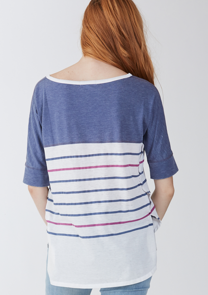 Another Love- Mimi Relaxed Vintage Tee in Stripe Dark Denim